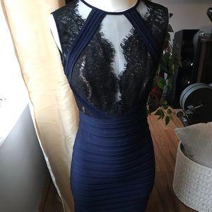Xscape Blue & Black Bandage Dress